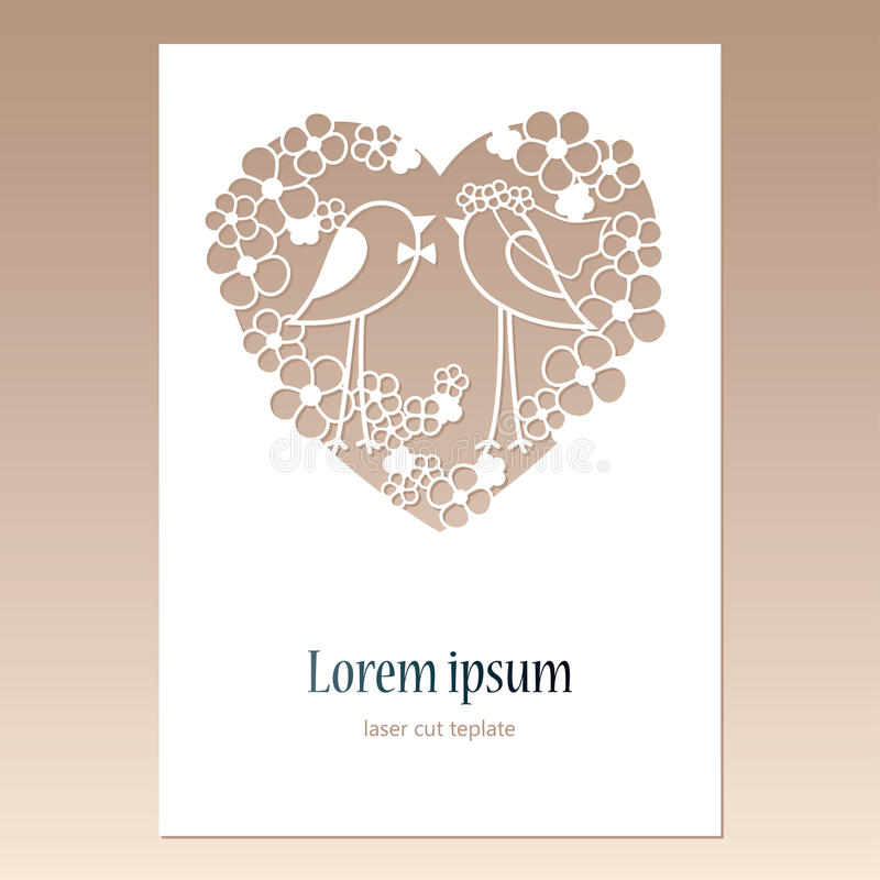Card with openwork heart with two birds and space for text. Laser cutting template for greeting cards. Card with openwork heart with two birds and space for stock illustration
