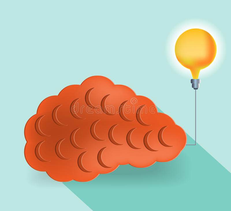 Card with orange brain and yellow lightbulb, flat vector illustration
