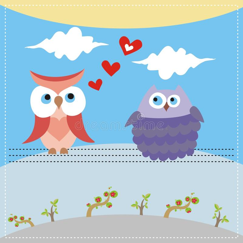 Card With Owls In Love Royalty Free Stock Images