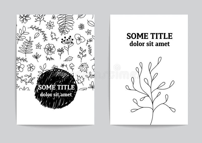 Card or page template. Hand drawn floral design vector illustration
