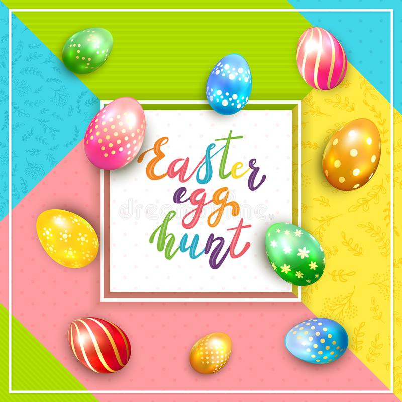 Card on Colorful Background with Lettering Easter Egg Hunt and Painted Eggs stock illustration