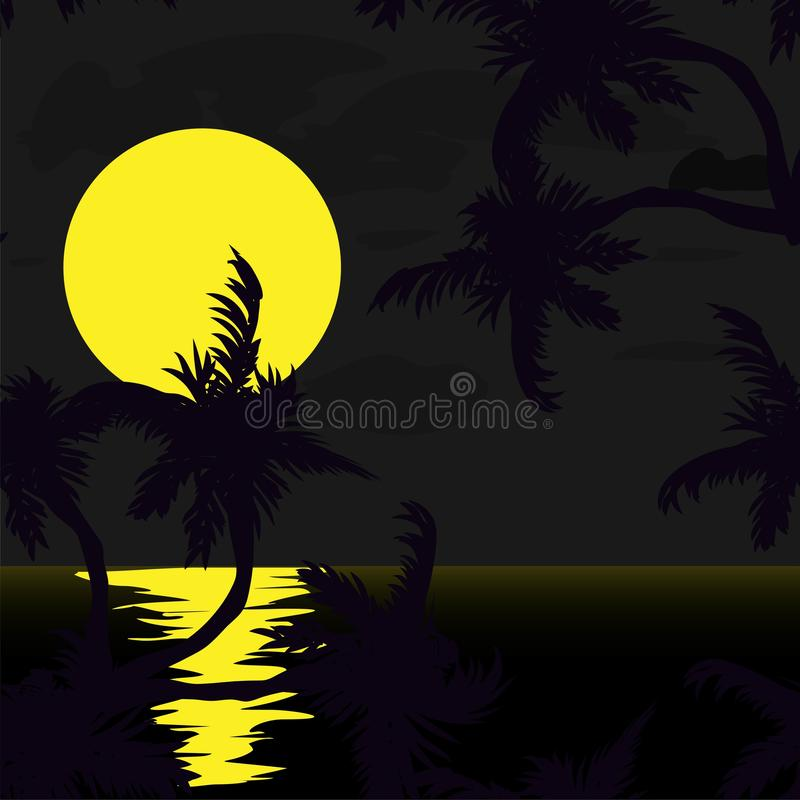 Card with palm trees silhouette. Graphic illustration. Coconut leaf vector illustration. Coconut palm tree. Card with palm trees silhouette. Graphic vector illustration
