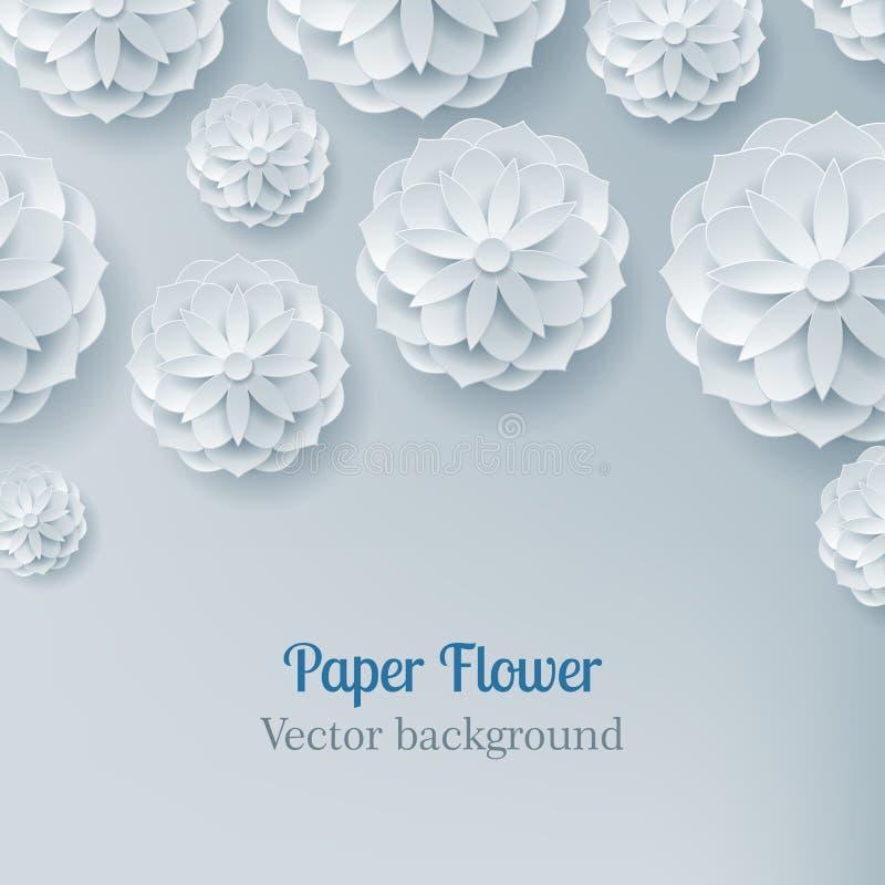 Card paper flower light background above stock illustration