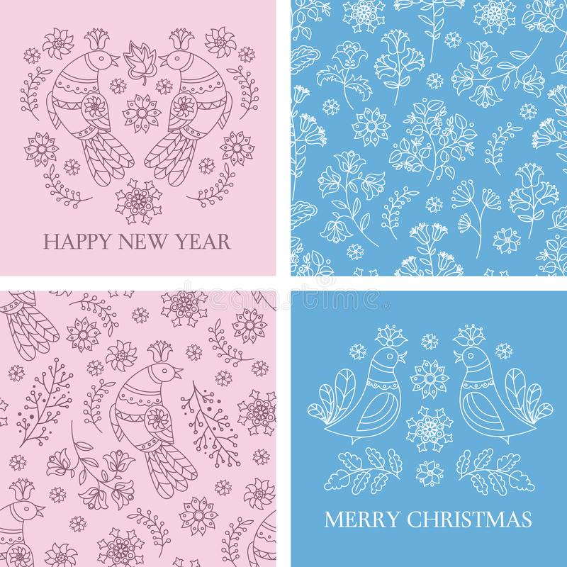 CARD PATTERN SET Merry Christmas Vector Illustration for Print vector illustration