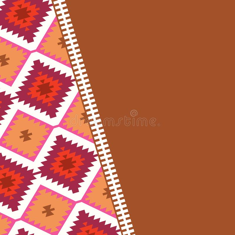 Card pattern in tribal style Turkish carpet beige red brown. Patchwork mosaic oriental kilim rug with traditional folk geometric o royalty free illustration