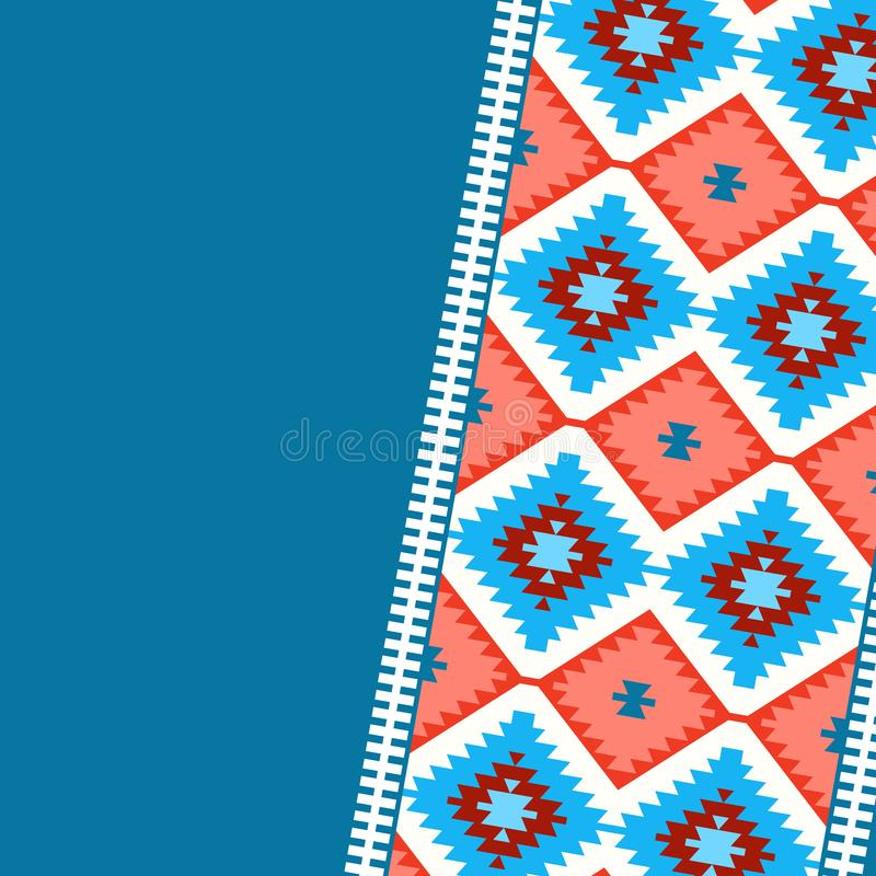 Card pattern in tribal style Turkish carpet navy blue red claret burgundy. Colorful patchwork mosaic oriental kilim rug with tradi stock illustration