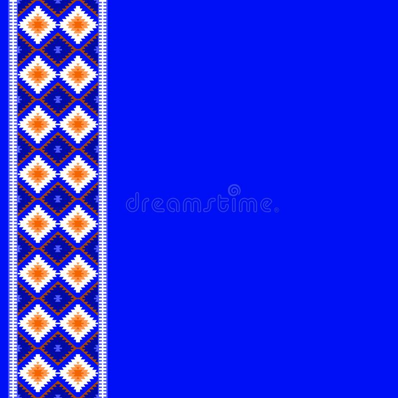 Card pattern in tribal style Turkish carpet navy blue red claret burgundy. Colorful patchwork mosaic oriental kilim rug with tradi royalty free illustration