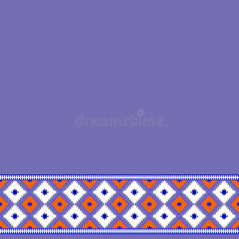 Card pattern in tribal style Turkish carpet purple, lilac red claret burgundy. Colorful patchwork mosaic oriental kilim rug with t stock illustration