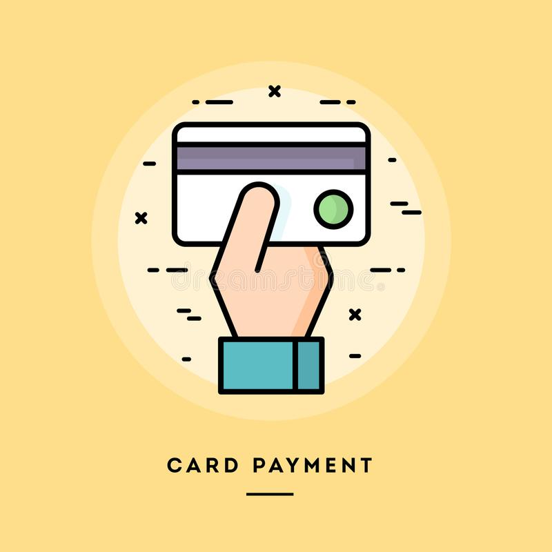 Card payment, flat design thin line banner. Usage for e-mail newsletters, web banners, headers, blog posts, print and more royalty free illustration