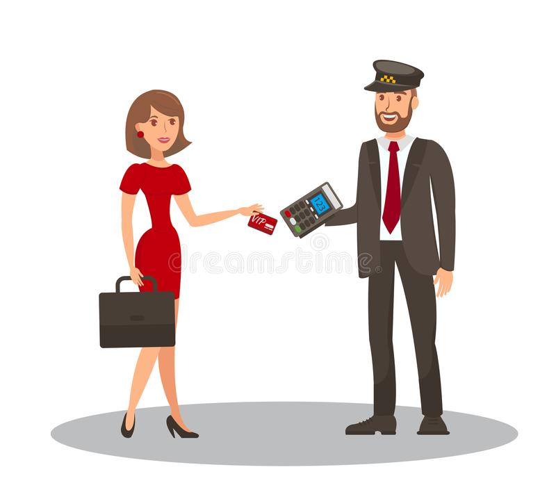 Card Payment for Taxi Flat Cartoon Illustration. Young Woman with Briefcase and Cab Driver with Pos Terminal Isolated Cartoon Characters. Businesswoman Paying stock illustration