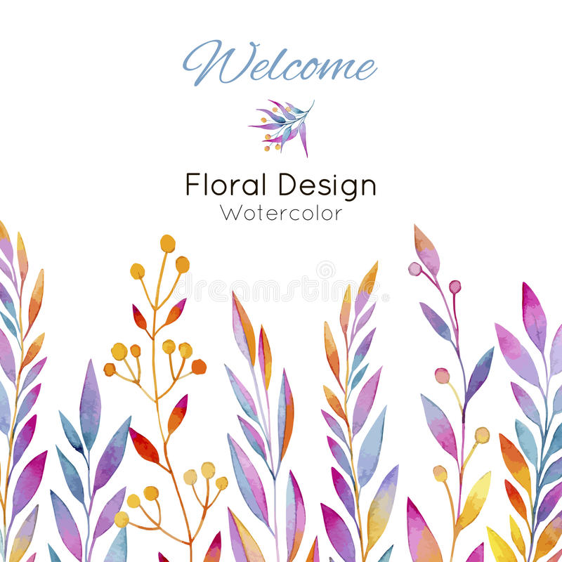 Card with plants in watercolor royalty free illustration