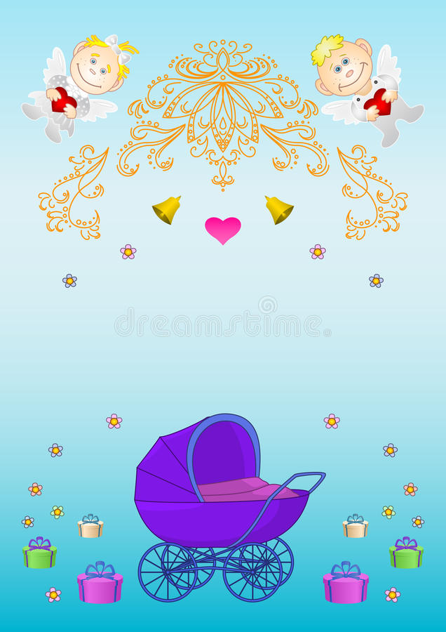 Download Card. Pram, Angels, Boxes, Bells Stock Vector - Image: 14854320