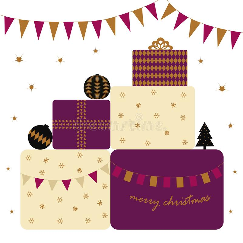 Card with presents stock illustration