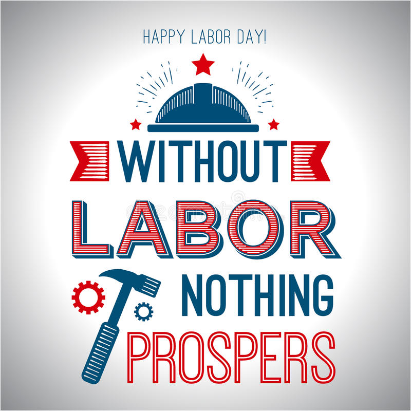 Card quote - without labor nothing prospers. Vector illustration for design. stock illustration