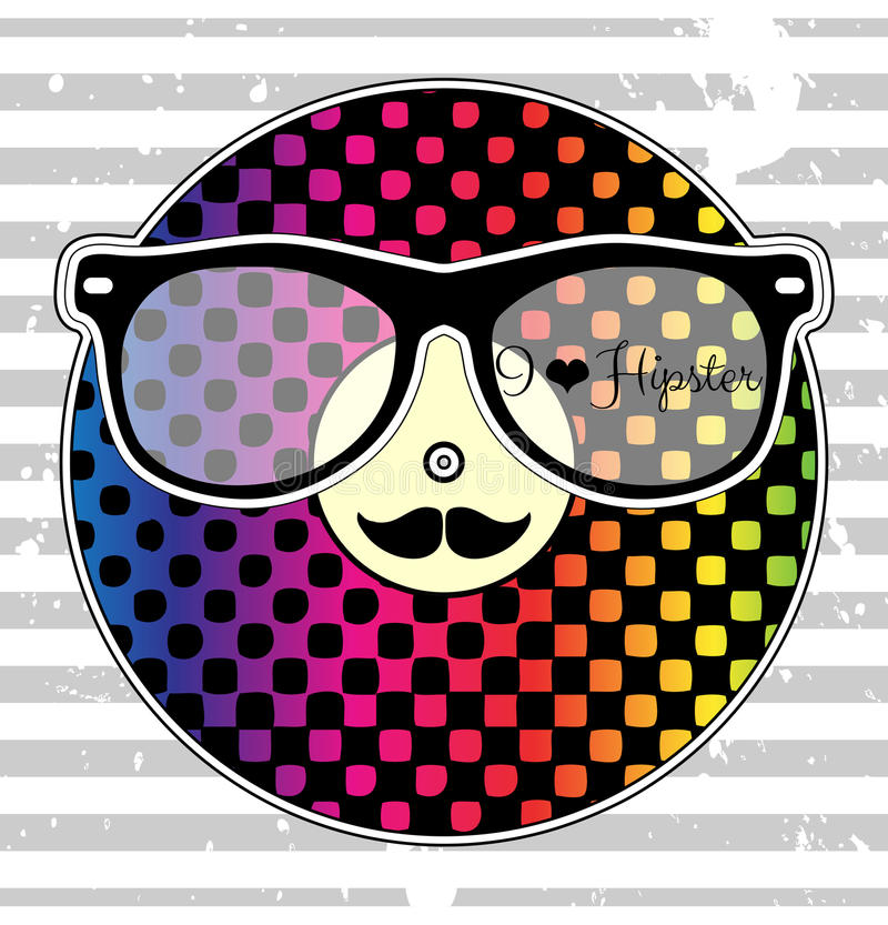 Card with rainbow vinyl record hipster style vector illustration