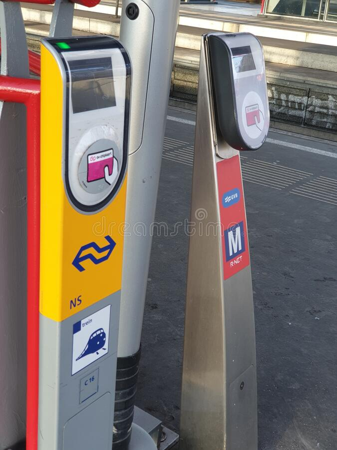 card reader for payment chip card reading for trains and metro on station Duivendrecht nearby Amsterdam stock images