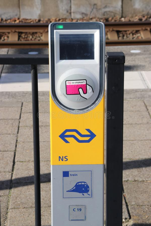 Card Reader terminal for Metro RET and Train NS on the platform at railway and tram station Den Haag Laan van NOI in the Netherlan royalty free stock images