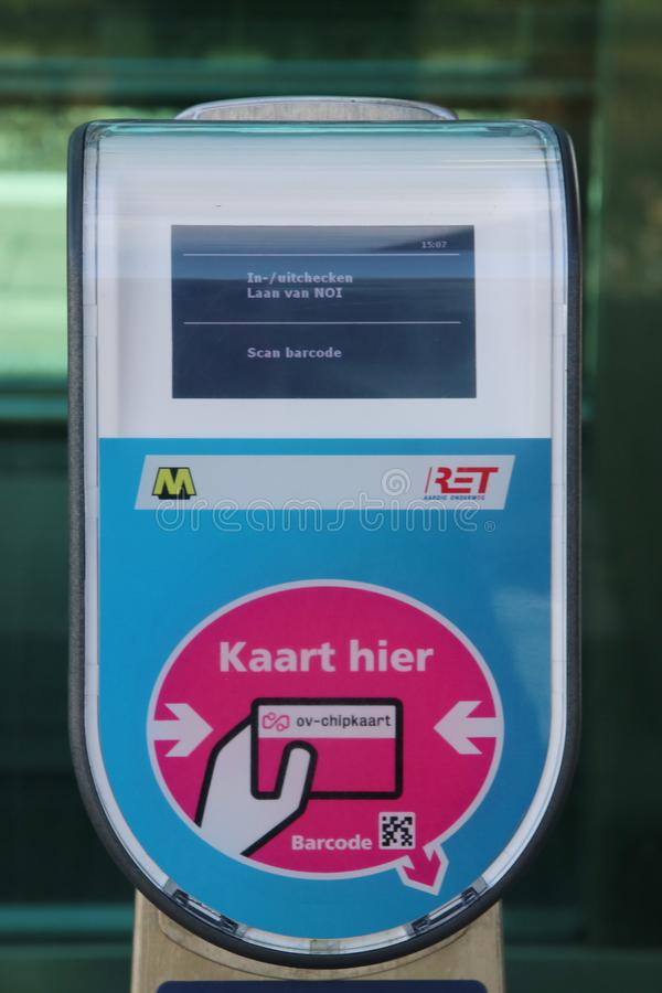 Card Reader terminal for Metro RET and Train NS on the platform at railway and tram station Den Haag Laan van NOI in the Netherlan stock photography