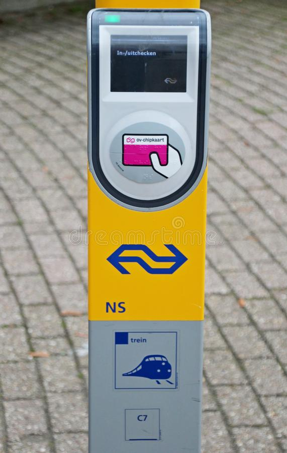 Card Reader terminal for Metro RET and Train NS on the platform at railway and tram station Den Haag Laan van NOI in the Netherlan stock photos