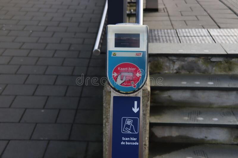 Card reader terminal of RET at metro station Forepark to read payment cards royalty free stock image