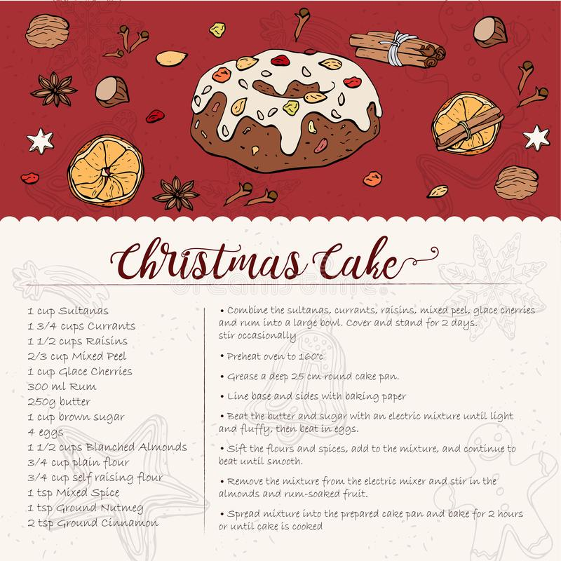 Traditional Christmas Cake recipe with candied fruit and nuts. Card recipe for a traditional Christmas Cake with candied fruit and nuts, sprinkled with powdered royalty free illustration