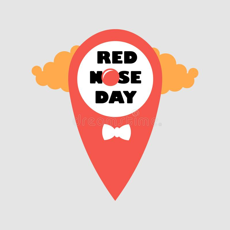Card of red nose day location point.. Vector illustration. Red Nose Day Abstract Vector Sign, Emblem, or Banner. Isolated vector illustration