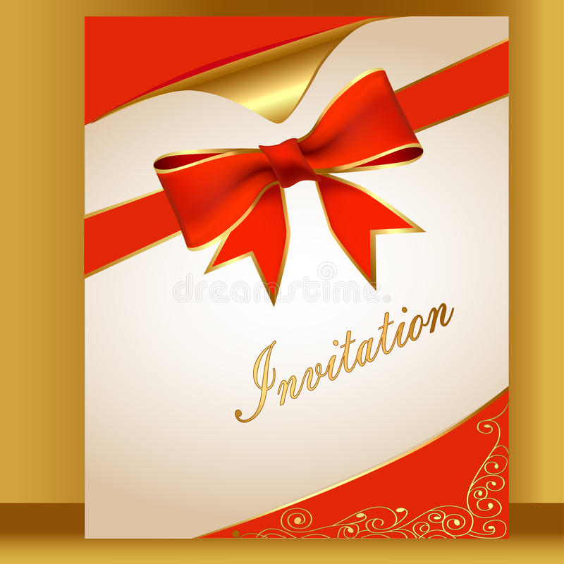 Of the card with a red ribbon vector illustration