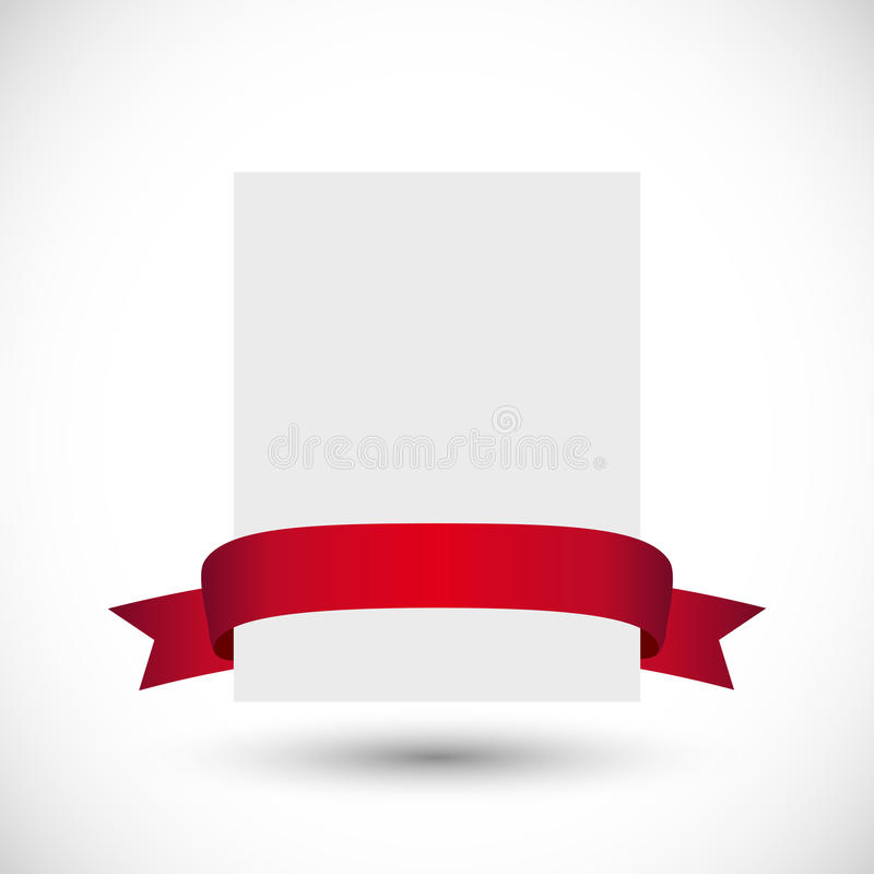Card with red ribbon stock illustration
