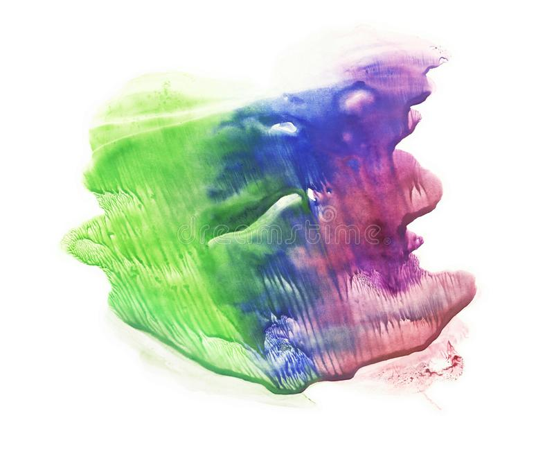 Card of rorschach inkblot test. Abstraction watercolor spot. Colorful isolated on white image. Purple, blue and green pigments vector illustration