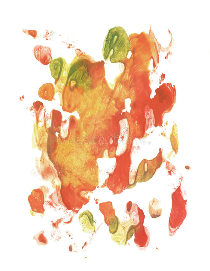 Card of rorschach inkblot test. Green, red, orange and yellow watercolor blotch. Abstract painting royalty free illustration