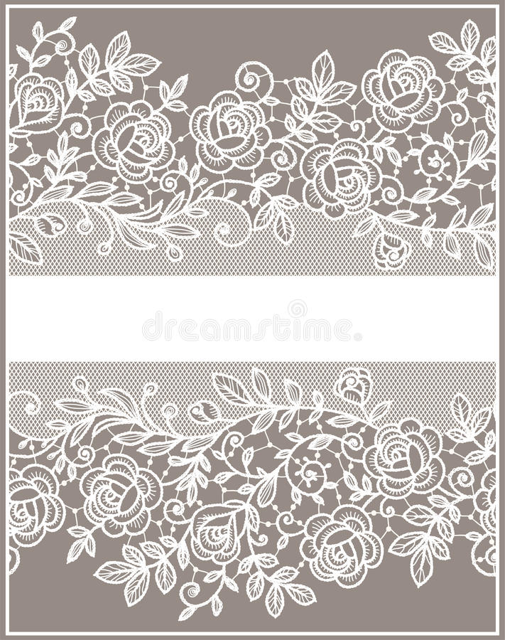 Free Card. Roses Lace Pattern. Royalty Free Stock Photo - 54320485