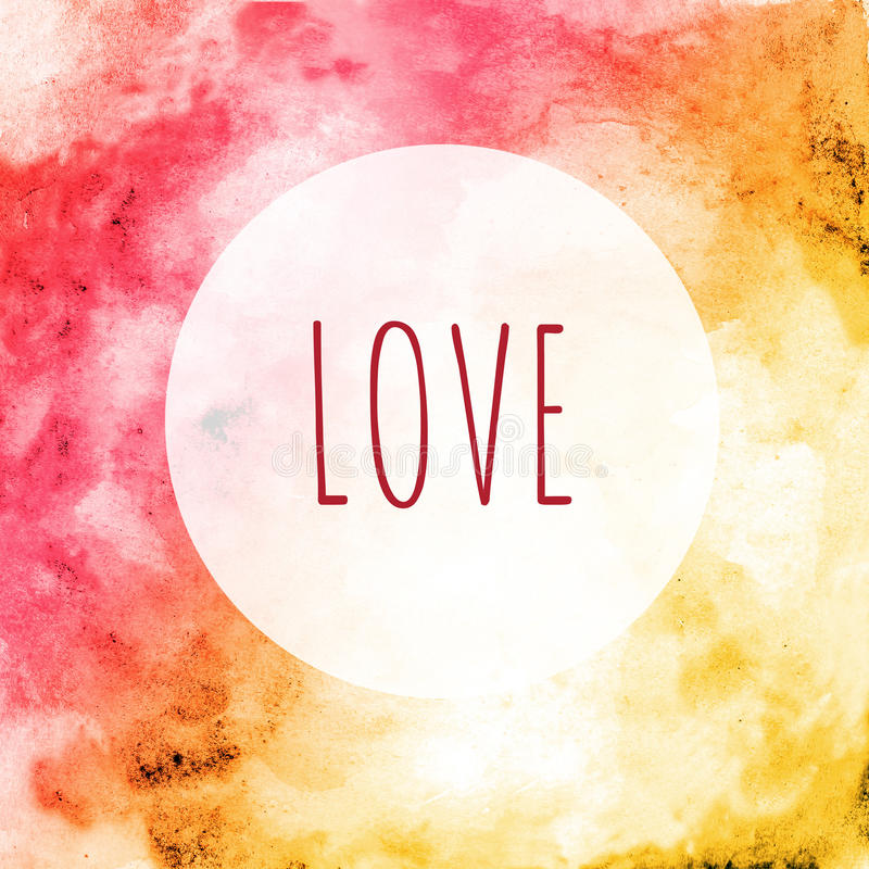 Card Love in the round frame - red yellow watercolor background stock images