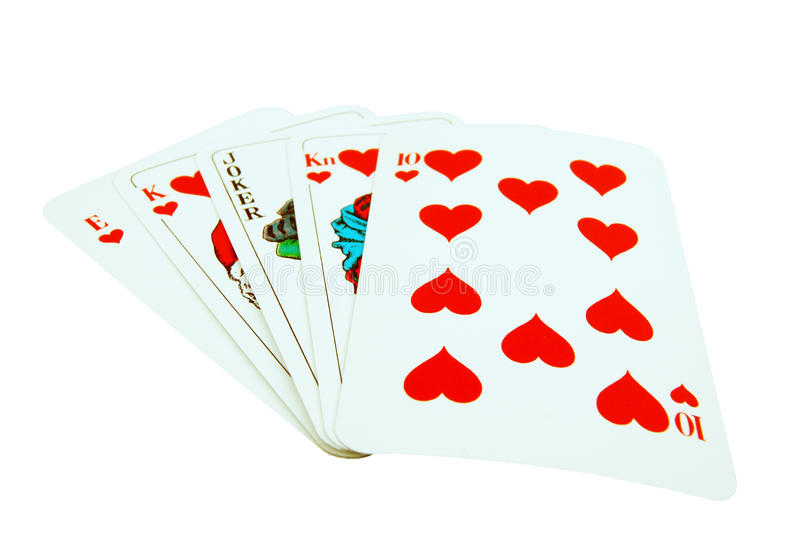 Card Royal flush with joker. Card of deck with an Royal flush, and joker instead of the queen. On white background royalty free stock images