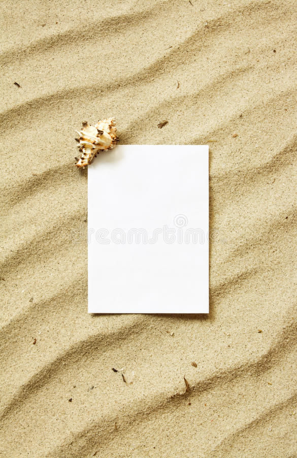 Download Card On Sand With Sea Shell Royalty Free Stock Photo - Image: 20478375