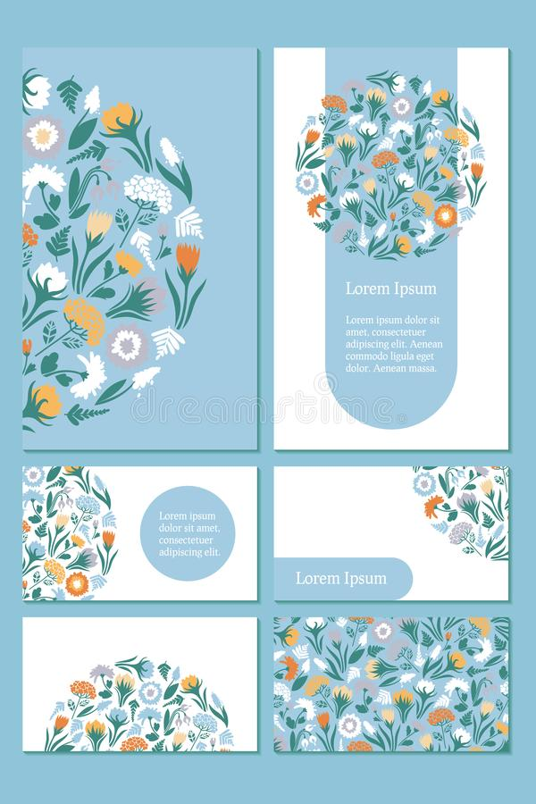 Business card template. Design with spring flowers on blue and white background, seamless pattern. vector illustration