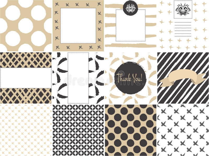 Card set template with seamless patterns in gold vector illustration