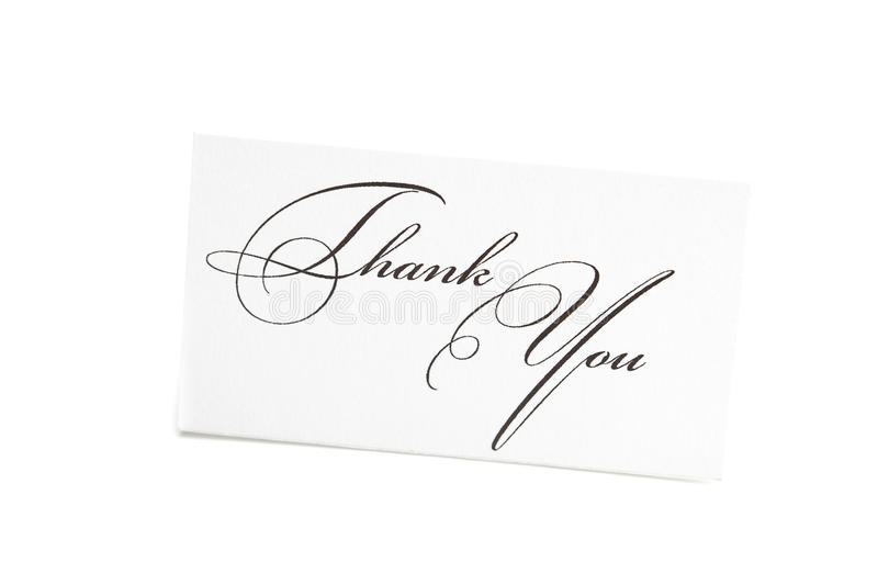 Card signed thank you stock photography