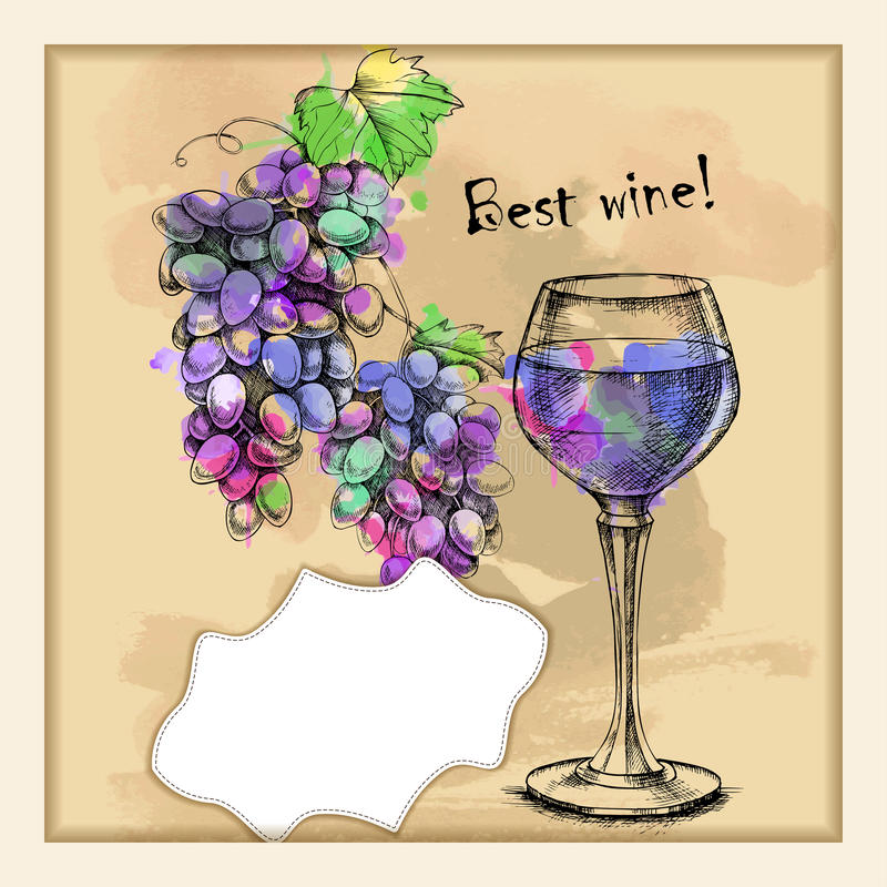 Download Card With Sketch Grapes, Wine Stock Vector - Image: 83717263