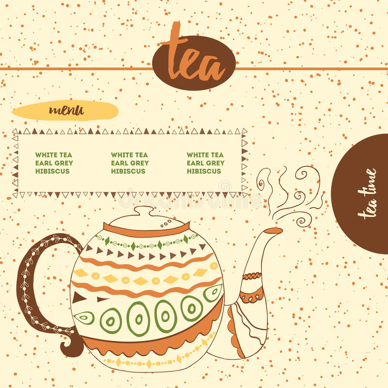 Card With Sketched Cute Teapot For Menu Design Or Web Template. Hand ...
