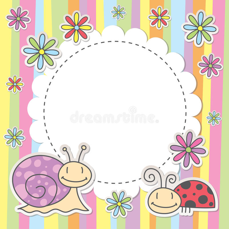 Card with snail and ladybug vector illustration