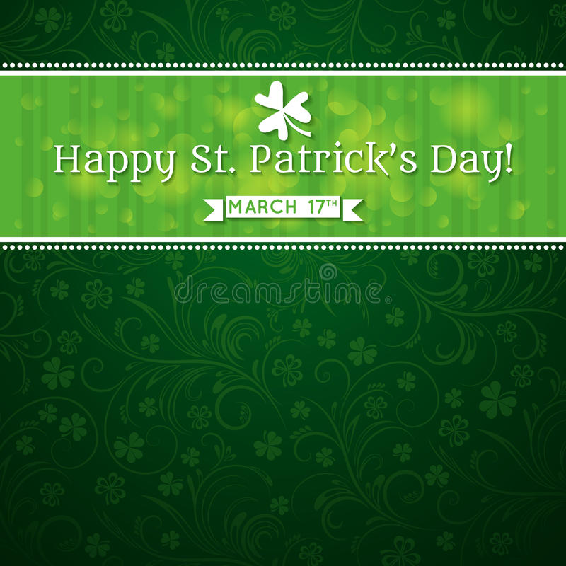 Card for St. Patricks Day with text and many shamr royalty free stock images