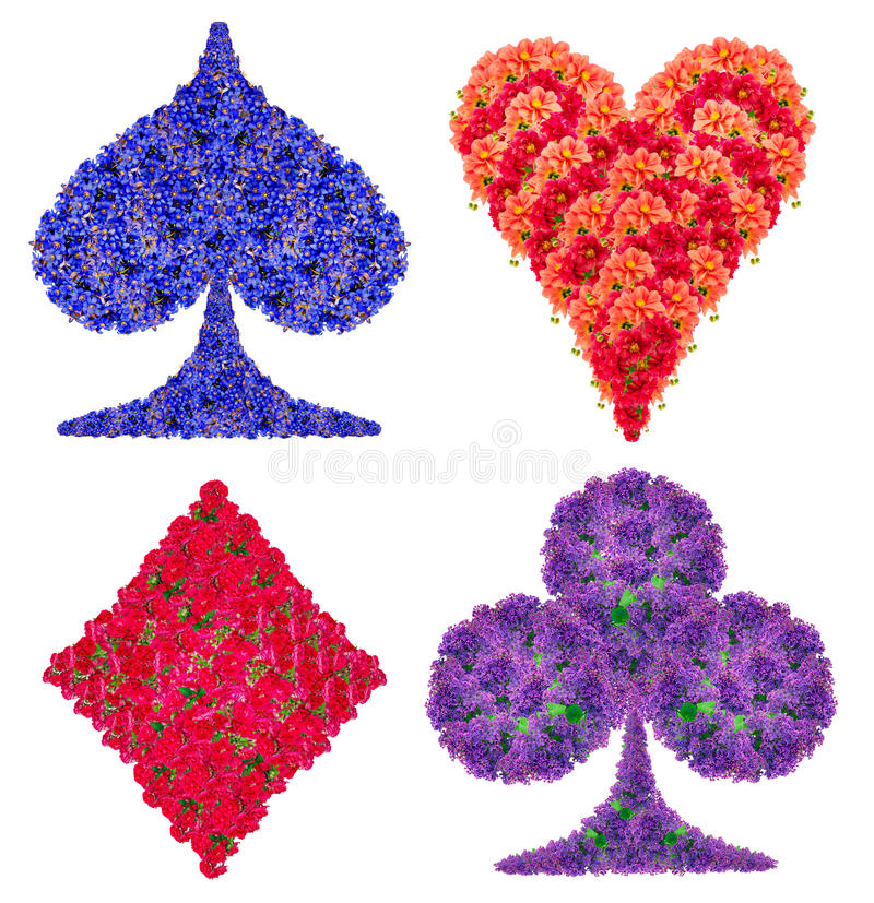 Card suit from flowers. Playing card abstract suit symbols set made from red and blue flower. Handmade isolated collage royalty free stock image
