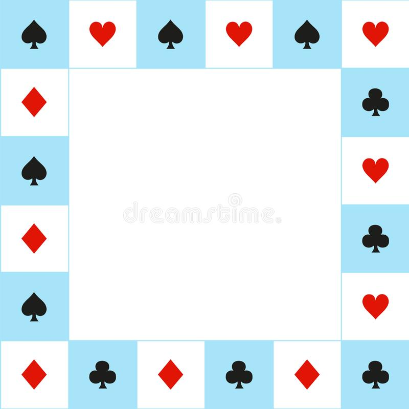 Card Suits Blue Red White Chess Board Border. Vector Illustration. royalty free illustration