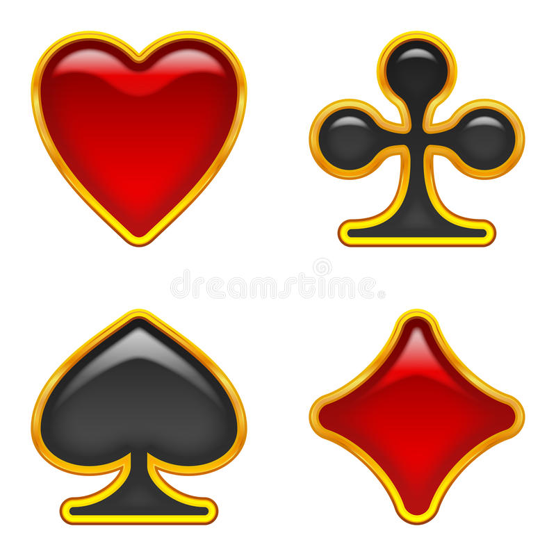 Download Card suits buttons, set stock vector. Image of emblem - 28740879