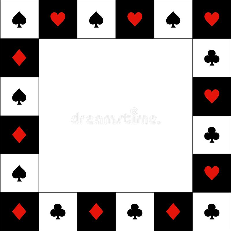 Card Suits Red Black White Chess Board Border. Vector Illustration.  stock illustration