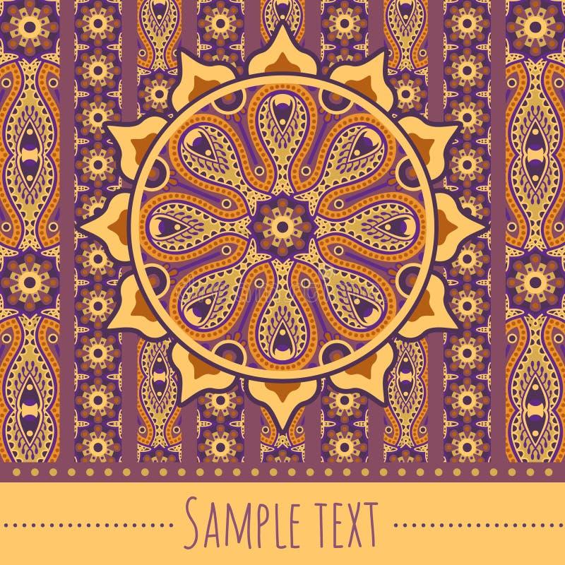 Card sun. Vector ornamental orient invitation card stock illustration