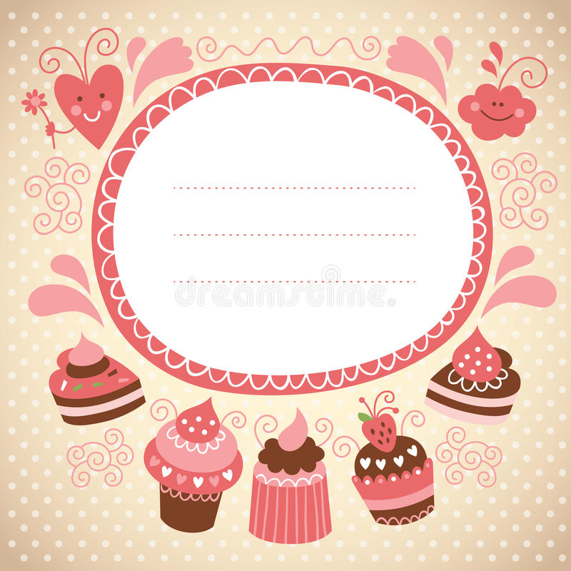 Download Card with sweet cakes stock vector. Image of charming - 26773594