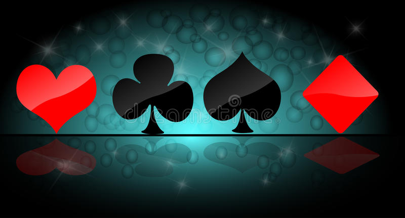 Card symbol set. In abstract background royalty free illustration