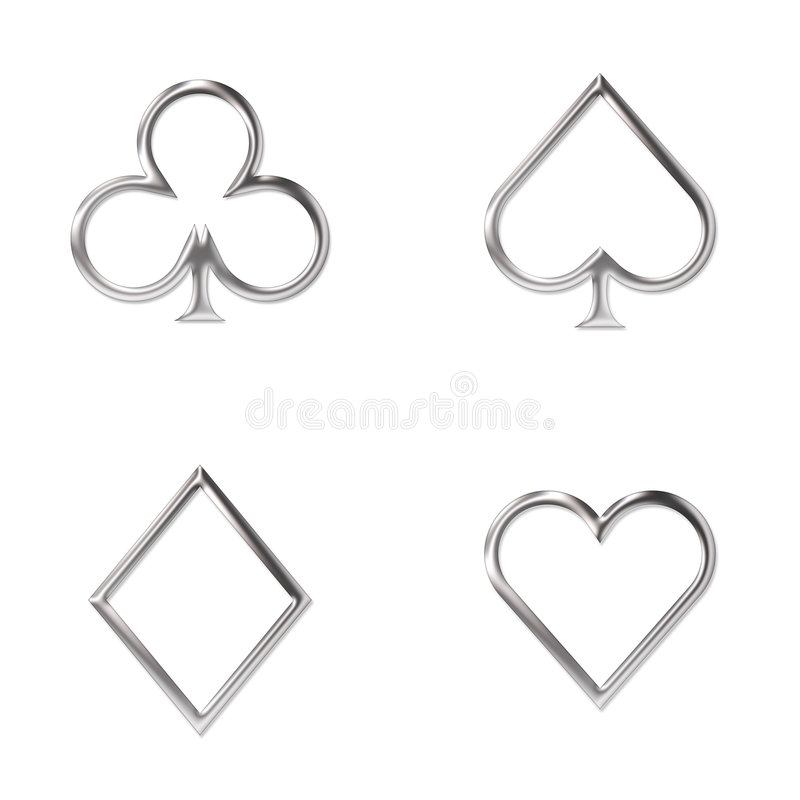 Free Card Symbols Silver Royalty Free Stock Photography - 7837877