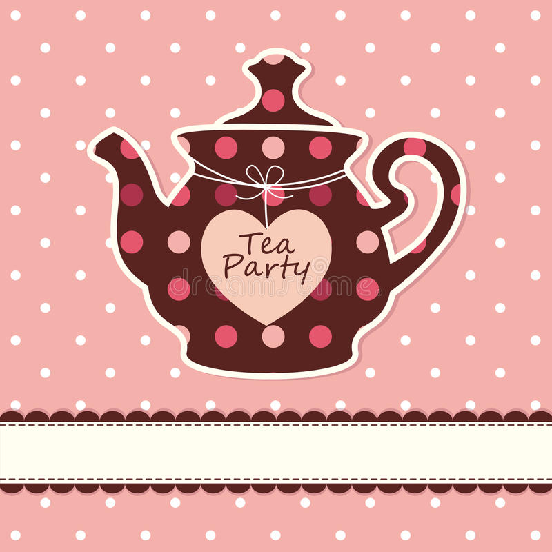 Card with teapot. Pink cute background with teapot stock illustration